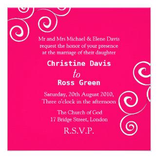 Simple swirls personalized wedding invitation
