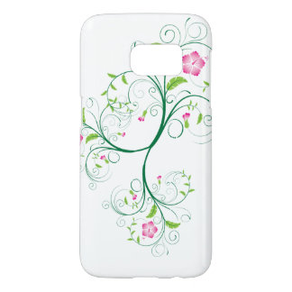 Simple Swirly Pink and Green Flowers Samsung Galaxy S7 Case