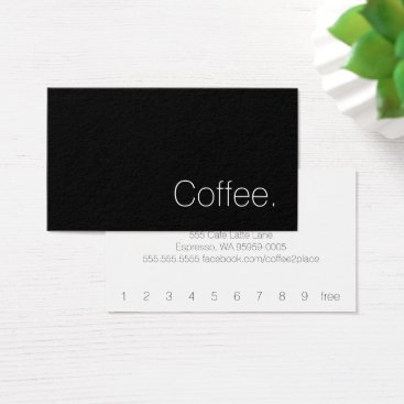 coffeepunch Simple Swiss Word Dark Loyalty Coffee Punch-Card Business Card