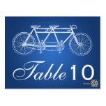 Simple Table Number Tandem Bike Blue Postcard