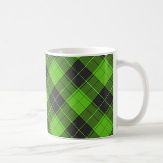 Simple tartan diagonal pattern in dark green Coffee Mug