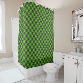 Simple tartan diagonal pattern in dark green shower curtain