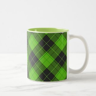 Simple tartan diagonal pattern in dark green Two-Tone Coffee Mug