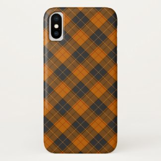 Simple tartan diagonal pattern in dark orange iPhone x case