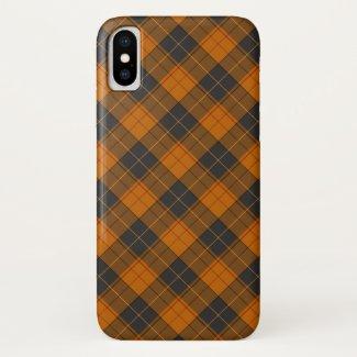 Simple tartan diagonal pattern in dark orange iPhone x case