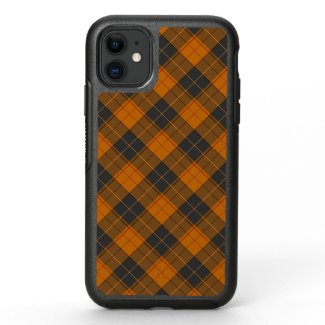 Simple tartan diagonal pattern in dark orange OtterBox symmetry iPhone 11 case