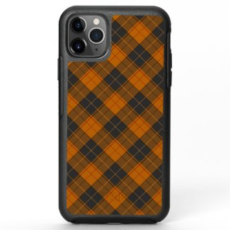 Simple tartan diagonal pattern in dark orange OtterBox symmetry iPhone 11 pro max case