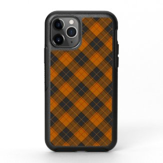 Simple tartan diagonal pattern in dark orange OtterBox symmetry iPhone 11 pro case
