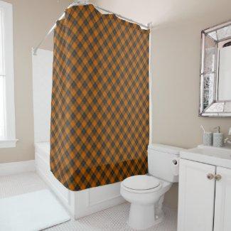Simple tartan diagonal pattern in dark orange shower curtain