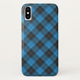 Simple tartan pattern in dark blue... iPhone x case