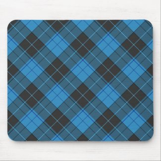 Simple tartan pattern in dark blue... mouse pad
