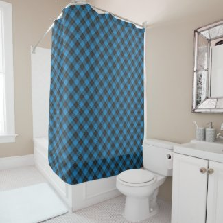 Simple tartan pattern in dark blue shower curtain