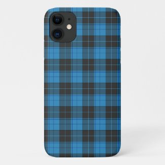 Simple tartan pattern in dark blue Uncomm iPhone 11 Case