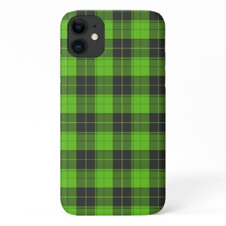 Simple tartan pattern in dark green iPhone 11 case