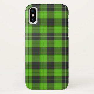Simple tartan pattern in dark green iPhone x case