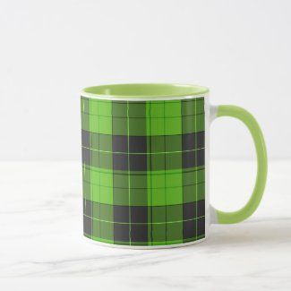 Simple tartan pattern in dark green mug