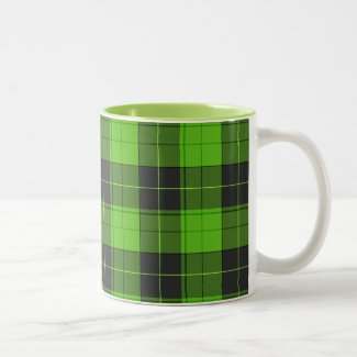 Simple tartan pattern in dark green Two-Tone Coffee Mug