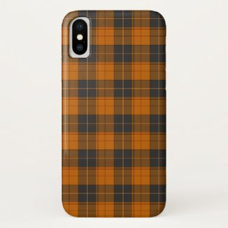 Simple tartan pattern in dark orange iPhone x case