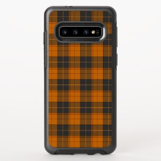 Simple tartan pattern in dark orange OtterBox symmetry samsung galaxy s10 case