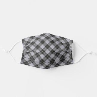 Simple tartan pattern in grey cloth face mask