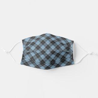 Simple tartan pattern in light blue cloth face mask