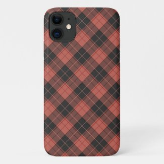 Simple tartan pattern in red iPhone 11 case