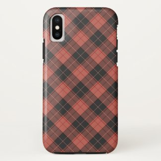 Simple tartan pattern in red iPhone x case