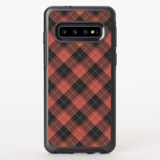 Simple tartan pattern in red OtterBox symmetry samsung galaxy s10 case