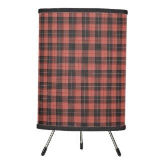 Simple tartan pattern in red tripod lamp