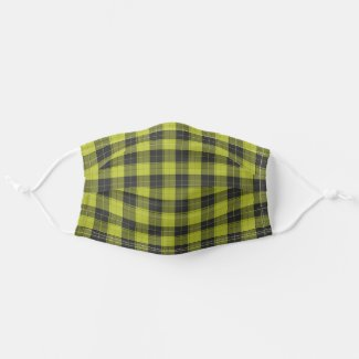 Simple tartan pattern in yellow cloth face mask