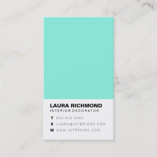 Interior decorator business cards templates zazzle simple teal block interior decorator professional business card colourmoves