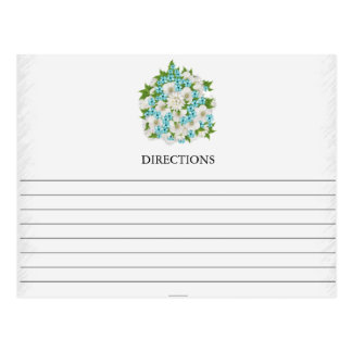 Simple Teal Flower Bouquet Recipe Cards