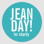 Simple Teal Jean Day Stickers