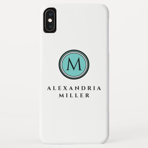 Simple Teal Monogram Medallion | White | Name iPhone XS Max Case