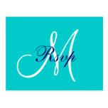 Simple Teal Navy Blue Monogram Wedding RSVP Postcard