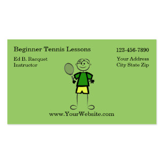 Simple Tennis Instructor Business Cards