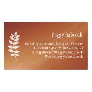 Simple Terracotta Orange with Leaf Business Card Business Card