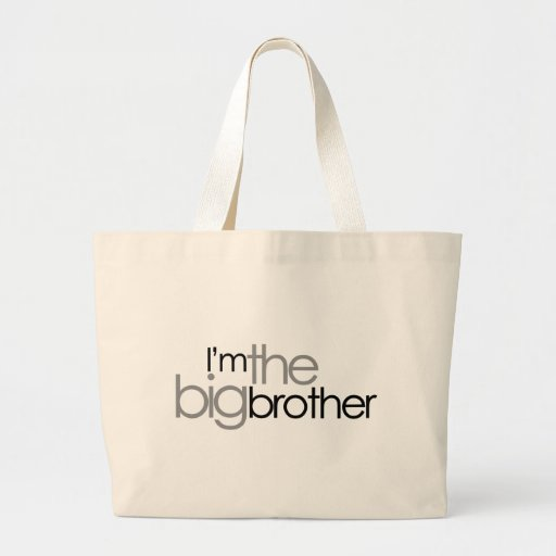 Simple Text Black and Gray Big Brother Canvas Bags