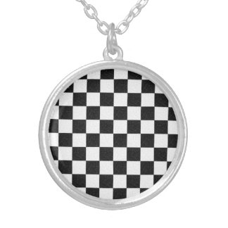 Simple textured checkerboard round pendant necklace