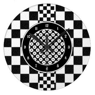Simple textured checkerboard wallclocks