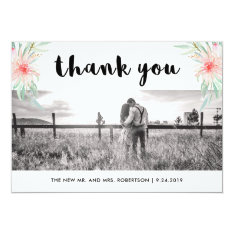 Simple Thanks | Photo And Blush Pink Flowers Card at Zazzle