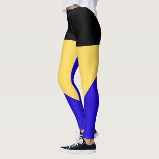 Simple Three-Color Black, Yellow & Blue Leggings