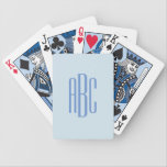 "Simple Three Letter Blue Monogram Bicycle Playing Cards<br><div class=""desc"">Cornflower blue three letter monogram design. If you need more room,  hold the control key down while you move the letters to the left or right.</div>"