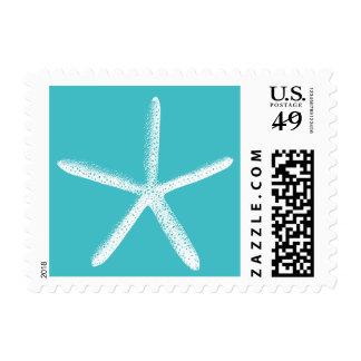 Simple Tiffany Blue Starfish Wedding Stamps