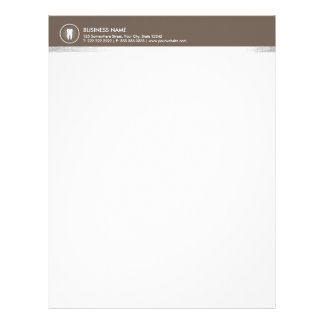 Simple Tooth Icon Brown Border Professional Dental Letterhead