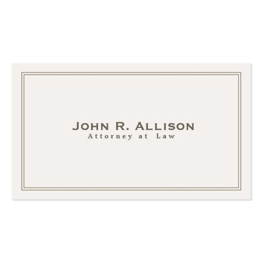 Simple Traditional Attorney Ivory Professional Business Card Template