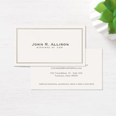 Simple Traditional Attorney Ivory Professional Business Card at Zazzle