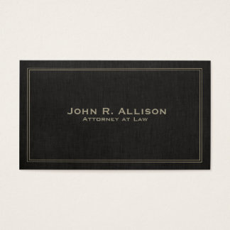 Simple Traditional Black Linen Look Professional Business Card