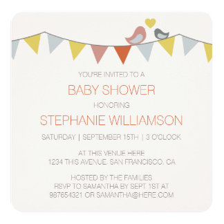 Simple, Trendy Birds & Bunting Baby Boy Shower Card