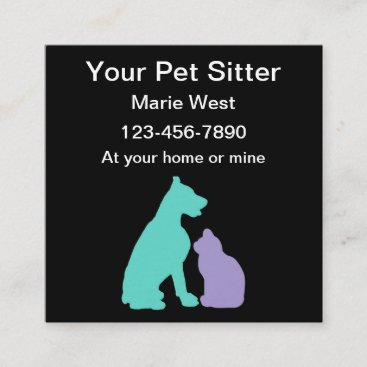 Simple Trendy Pet Sitter Square Business Card